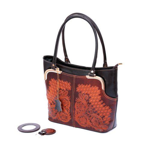 کیف چرم دوشی طرح دار